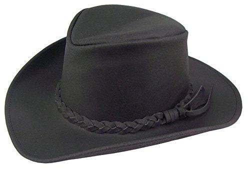Kakadu Traders Australia Western Cowboy Lederhut in schwarz und braun mit Geflochtenem Hutband und...