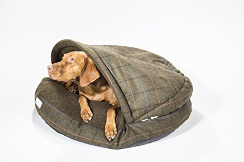 """Collared Creatures Dog Cave Bed, Dog Bed, Large 889mm (35"""") Green Tweed 1"""