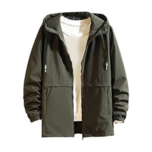 UOWEG Mäntel Herren Neue beiläufige mit Kapuze Jacke der Männer große Bequeme Jacken-Mantel-Fester Reißverschluss-Langhülse Outwear Mantel-Bluse M-8XL