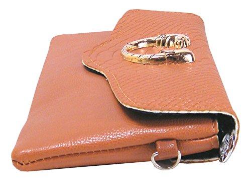 Clutch Abendtasche Kunstleder mit Löwenkopf 25cm lang (Rot) Braun