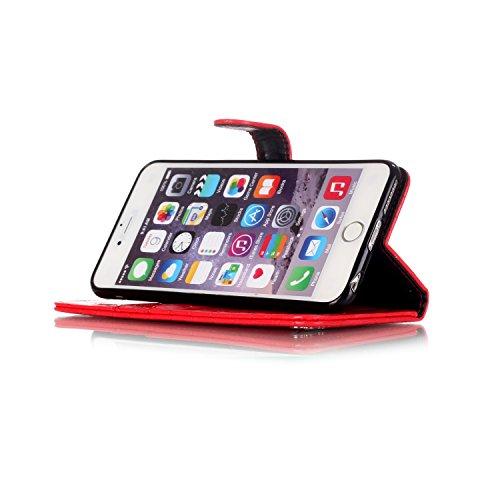Coque iPhone 6S,Etui iPhone 6,JAWSEU Coque Etui Housse pour iPhone 6/6S 4.7,Luxe Mode Pure Cuir PU Portefeuille Etui Coque Folio en Cuir Case Housse de Protection,Homme Femme Crocodile Pu Cuir Coque U rouge