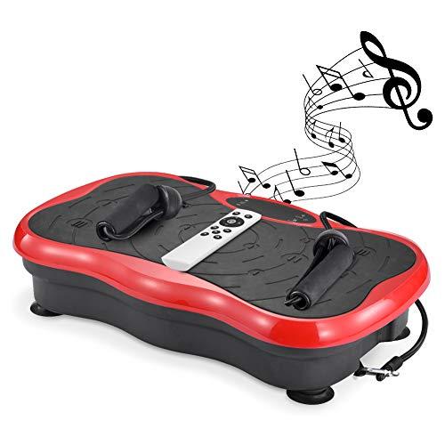 ydrtety Vibrationsplatte, Rüttelplatte, Fitness Geräte für Zuhause, Ganzkörper Trainingsgerät, Sportgeräte mit Trainingsbändern (Rot)