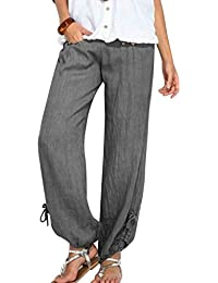 068c47e88bcbe Landove Pantalon Lin Femme été pour Yoga Sport Jogging Pyjama Pantalon  Taille Haute Large Palazzo Pantalons