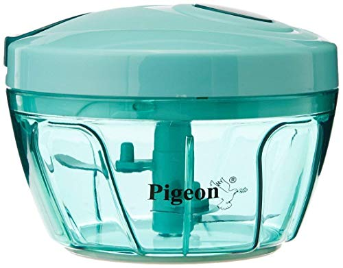 Pigeon India New Handy Mini Chopper with 3 Blades, Hand Manual Machine as Seen on TV, Veggie Food Dicer with Triple Blade, Green by Pigeon