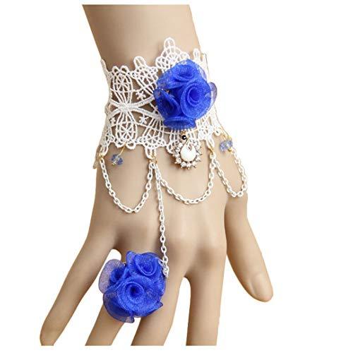 Cebilevin Modisches Armband mit ringblauer Rosette -