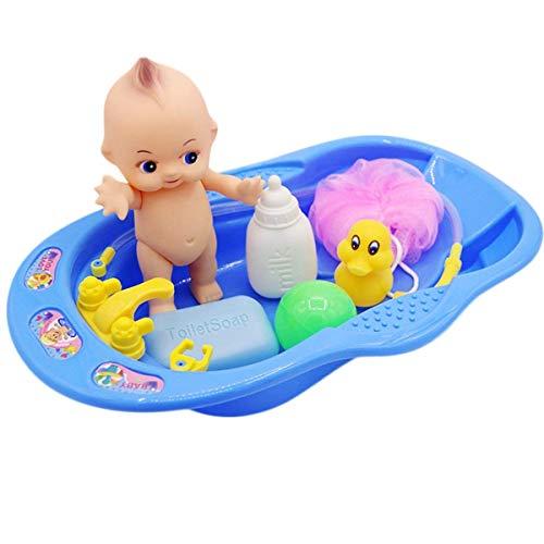 OUTANG Bad Spielzeug Set Baby Bad Puppe Spielzeug Kleinkinder Frühe Bildung Pretend Kunststoff Badewanne Schwimmbad Dusche Spielzeug