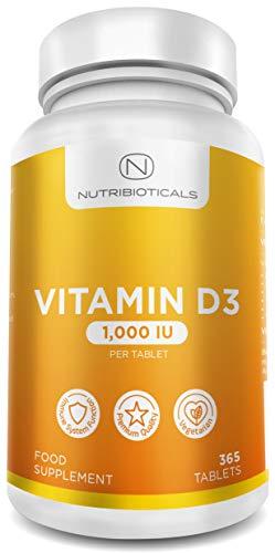 Vitamin D3 1000 IE 365 Tabletten Jahresvorrat (keine unangenehmen Softgel-Kapseln) von Nutribioticals