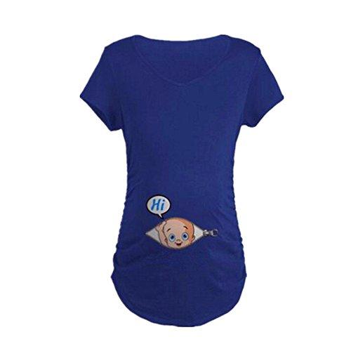 MEIHAOWEI Schwangere Frauen T-Shirts Mutterschaft T-Shirts Kleidung Nursing Top Blue XL (Lustige Shirts Mutterschaft)