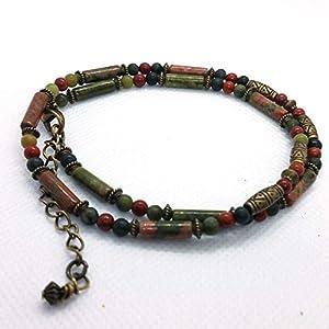 Amerikanische Indianer Halskette Unakite Schmuck für Männer und Frauen CHNA28