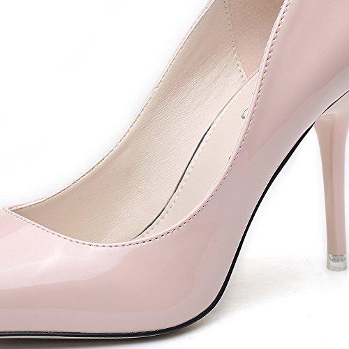 AalarDom Femme Pu Cuir Stylet Pointu Tire Chaussures Légeres Rose Clair