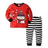 WFRAU Baby Mädchen Weihnachten Pyjama Anzug Kinder Winter 2 Stück Weihnachten Muster Print Langarm...
