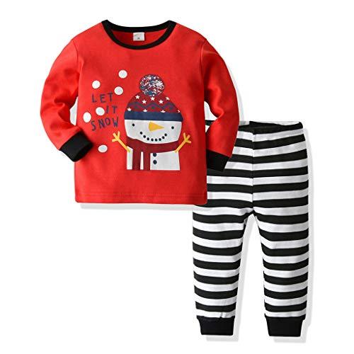 Weihnachts Outfits Jungen Mädchen Meine ersten Weihnachtsspielanzug mit Xmas Schlafanzug Top Kleidung Set Spielanzug Bodysuit Gestreifte Hosen Tuch Set 1-6 Jahre alt - Top 2 Jahre Alt Kostüm