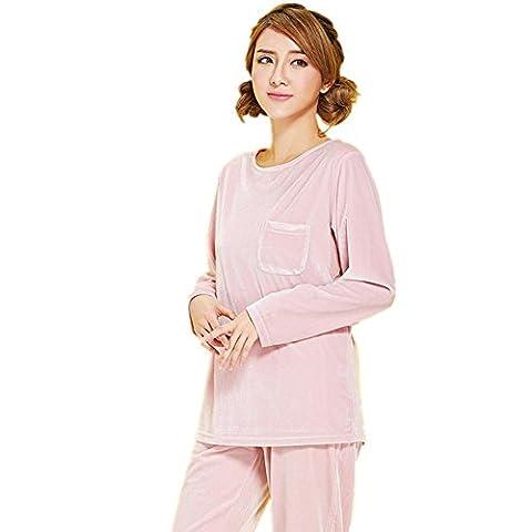 DMMSS Damen Gold samt Rundhals Langarm-Pyjama-Set , l (Weiche Womens Chemise)