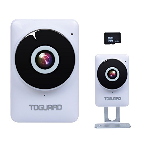 TOGUARD mini HD IP Camera Wifi Video Surveillance Camera dwelling kid Monitor having 185° Panorama View Fisheye Lens, Night Vision, Real-time Intercom, Motion Detection, far off Monitoring, Free 32GB Micro SD Card UK