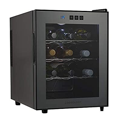Cookology CW12BK Mini Tabletop Thermoelectric Wine Cooler, Less Noise & Vibration