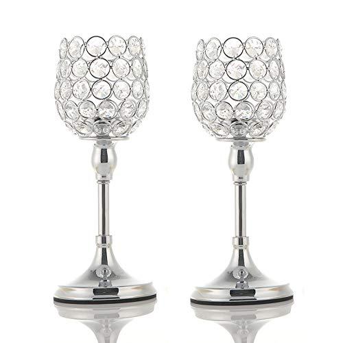 Vincigant set di portacandele in cristallo moderno argento festeggiamenti per l'anniversario casa arredamento decorativo da tavolo regali, 25 25 cm