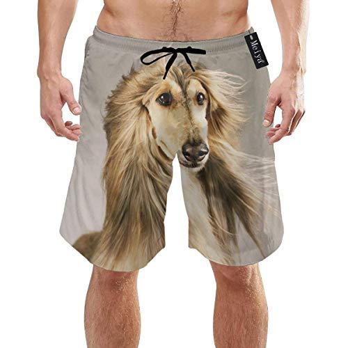 akingstore Afghan Hound Dog Hairy Herren-Sommer-Badehose mit 3D-Grafik, schnell trocknend, lustige Strand-Boardshorts mit Mesh-Futter -