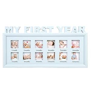 Qchomee Baby Bilderrahmen Mein erstes Jahr Bildergalerie Fotogalerie 12 Foto-Ausschnitten Fotorahmen Andenken Rahmen für…