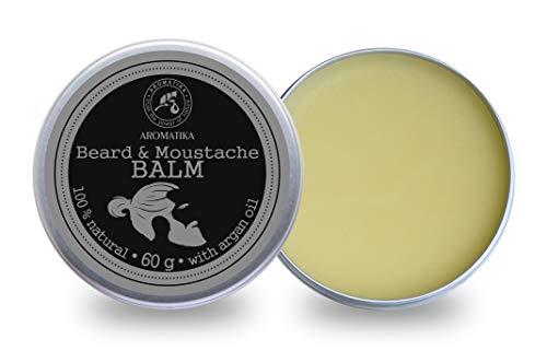 Bart Balsam 60g - Balsam für den Bart mit Natürlicher Mandelöl - Arganöl - Jojobaöl - Kakao Butter - Sandelholzöl - Bergamotteöl - Bart Balm - große Vorteile für Bartpflege - Beard Balm -