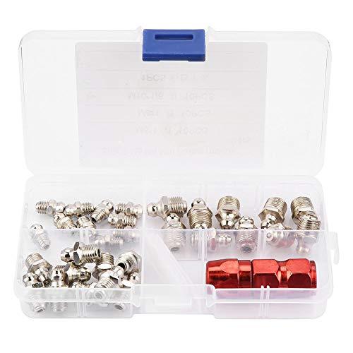 31 x Buttermund-Set & 1 x Fettpresse Fettdüse, gerade, Fettnippel M6 M8 M10, mechanischer Schmierteil mit Etui