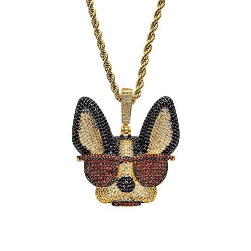 Hip Hop Bling Lab Diamant Iced Out CZ Kupfer Inlay Zirkon trägt EIN Auge Hund Anhänger Halskette Gold Silber Charm Punk Schmuck Geschenk