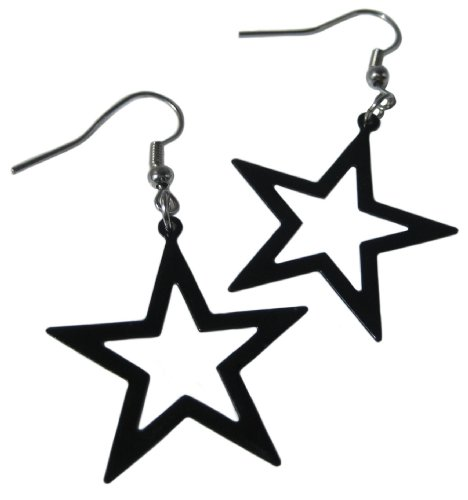Star Drop Fashion Earrings in Black. Ideal for Madonna or Cyndi Lauper Dress-Up