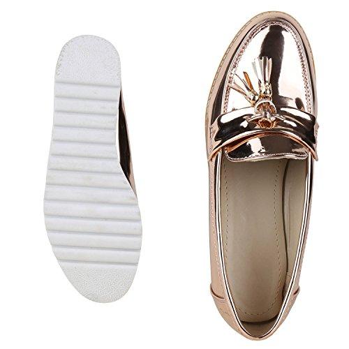 Napoli Moda Comode Pantofole Donna Nappe Mocassino Lacca Scarpe Metalliche Nappe Profilo Suola Appartamenti Fiori Glitter Scarpe Casual Jennika Oro Rosa Lacca