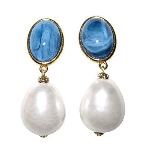 Elegant: Sehr große leichte Clip-Ohrstecker Ohrringe vergoldet Stein blau marmoriert Anhänger Perle weiß Tropfen Statement Designer JUSTWIN
