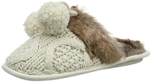 Totes totes Ladies Cable Knit Mule Slippers, Damen Pantoffeln, Elfenbein (Cream CRM), 36-37 EU (Small) - Cream Cable Knit
