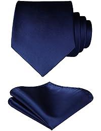 HISDERN Men's Solid Color Tie Handkerchief Wedding Party Classic Necktie & Pocket Square Set-Multiple Colors