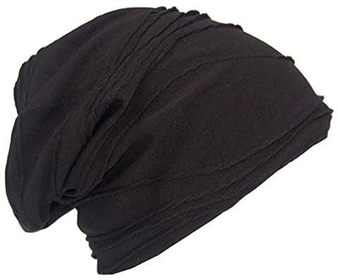 Cool4 Vintage Falten Struktur Beanie Schwarz Slouch Retro Stylisch Mütze Cap Hut VSB20