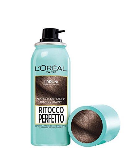LOréal Paris Ritocco Perfetto Spray Ritocco Radici Colorazione Ricrescita Copre i Capelli Bianchi e Dura 1 Shampoo 2 Bruno 75 ml