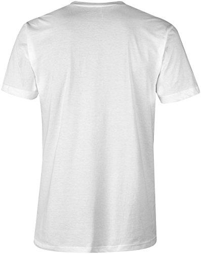 Klug wars nicht aber Geil ★ V-Neck T-Shirt Männer-Herren ★ hochwertig bedruckt mit lustigem Spruch ★ Die perfekte Geschenk-Idee für Geburtstag, Vatertag oder zum Jubiläum (02) weiss