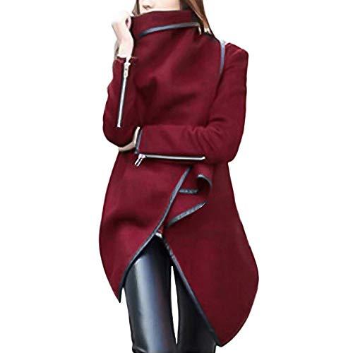 YWLINK Damen UnregelmäßIg RüSchen Warmer ÜBergangs Mantel Jacke Parka Rollkragen Langarm Manschette Mit ReißVerschlüSse Windjacke(XL,Weinrot) - Gürtel Trench Lange Mantel Jacke
