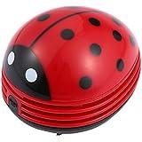niceeshop(TM) Mini Aspirador de Polvo de Limpiador del Escritorio de Diseño de Estampado de Mariquita Roja
