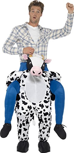 Smiffys, Herren Huckepack Kuh Kostüm, Einteiler mit Beinen, One Size, Schwarz und Weiß, (Herren 2017 Einfach Kostüme)