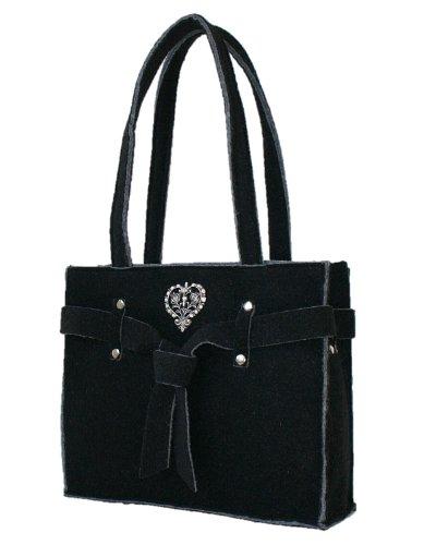 Trachtentasche Filz Tasche Filztasche Shoppertasche Handtasche groß schwarz (Handtasche Bag Purse Fell)