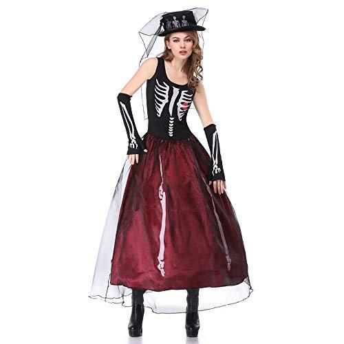 Averyshowya Kostüm für Erwachsene Halloween Skeleton Ghost Bride Kostüme Frauen Cosplay Dress @ - Ghost Bride Kostüm