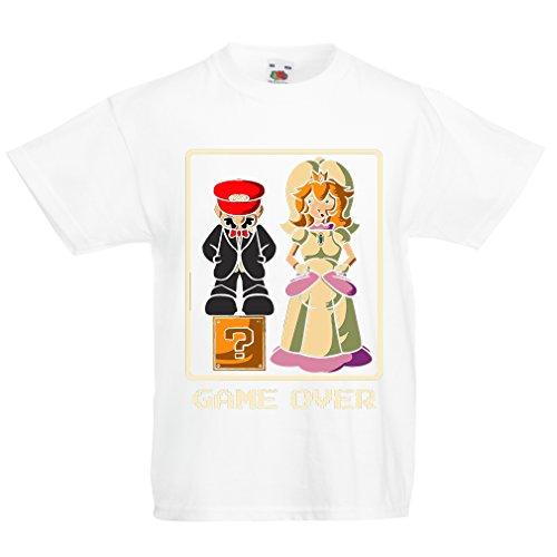 (lepni.me Kinder Jungen/Mädchen T-Shirt Spiel ist aus! Gerade verheiratetes Zeichen, lustige Hochzeits-Geschenk-Ideen (1-2 Years Weiß Mehrfarben))