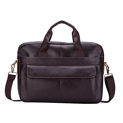 Men s Leather Briefcase Shoulder Handbag Cross-body Large capacity Vintage  Crazy Horse Genuine Leather Messenger Tote Bag 65dd297131aea