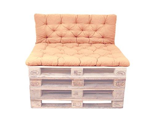 Ambientehome Palettenkissen mit Rückenlehne, Sitzpolster 120 x 80, Rückenkissen 120 x 60 cm, Indoor & Outdoor