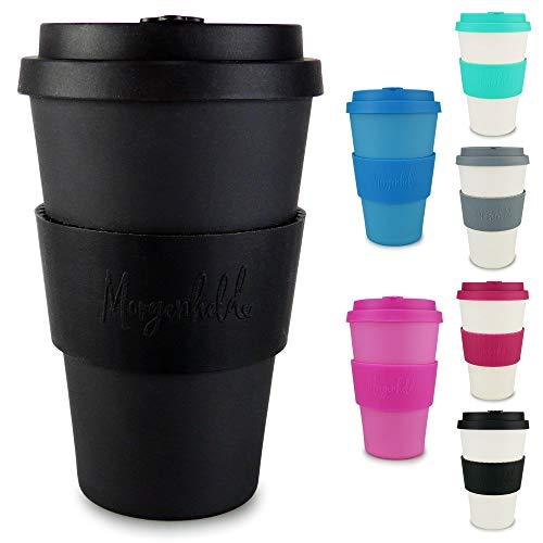 Morgenheld Dein trendiger Bambusbecher   Coffee-to-Go-Becher   Kaffeebecher mit Silikondeckel und Banderole in coolem Design, 400ml - Just Black