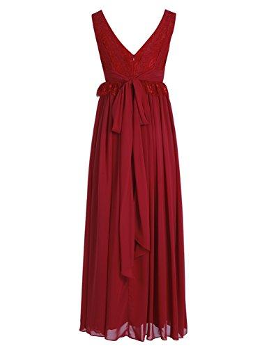 Dresstells Robe longue de soirée Robe de cérémonie en mousseline dentelle forme empire col en V Gris