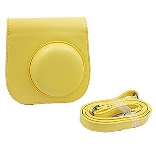 Ajusen PU-Leder Kameratasche mit Schultergurt und Tasche für Fujifilm Instax Mini 8 Instant Camera (Gelb)