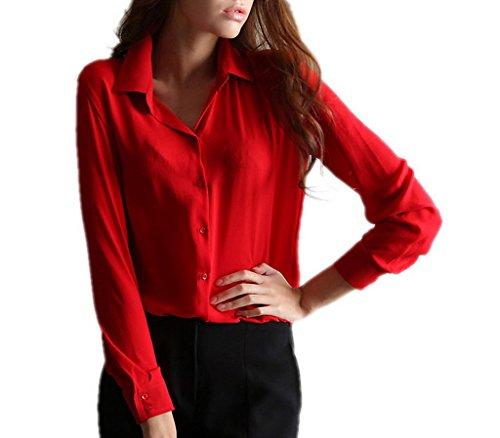 BELLA-Camicia Camicetta V-collo delle Donne Camicia Chiffon Rosso Busto