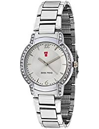 Swiss Trend Tantalizing Silver Stainless Steel Studded Watch For Women