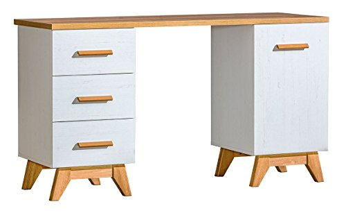 Schreibtisch Panduros 12, Farbe: Kiefer Weiß / Eiche Braun - Abmessungen: 79 x 140 x 52 cm (H x B x T) (Kiefer Eiche Schreibtisch)