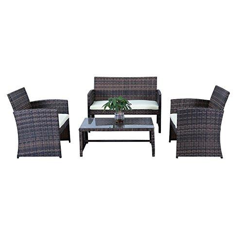 HENGMEI Gartengarnitur Polyrattan Gartenmöbel Set Lounge Sitzgarnitur Gartensofa Gartengarnitur für 4 personen (Braun)