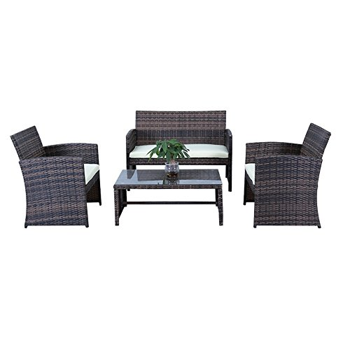 HENGMEI Gartengarnitur Polyrattan Gartenmöbel Set Lounge Sitzgarnitur Gartensofa Gartengarnitur (Braun, Type C)