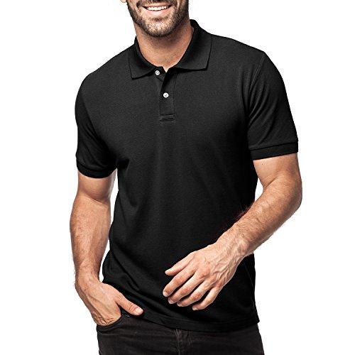 LAPASA Herren Poloshirt, Polo T-Shirt - M019, M, Schwarz